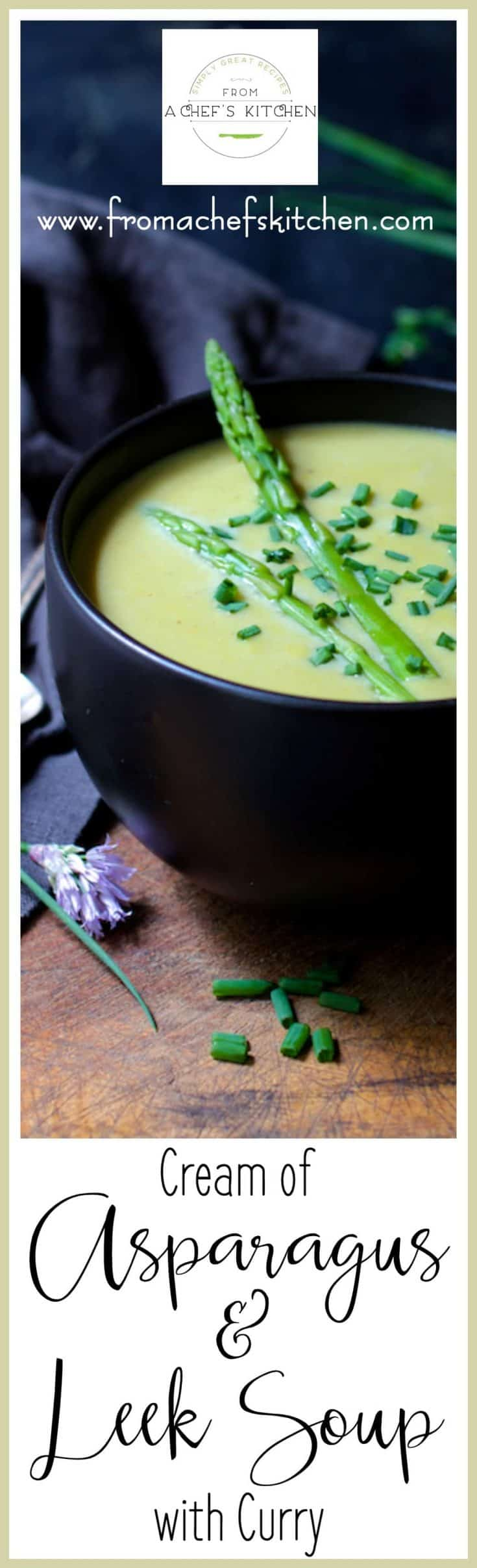Cream of Asparagus and Leek Soup with Curry makes a beautiful starter for an elegant late spring dinner or as part of a light lunch. #asparagus #asparagussoup #soup