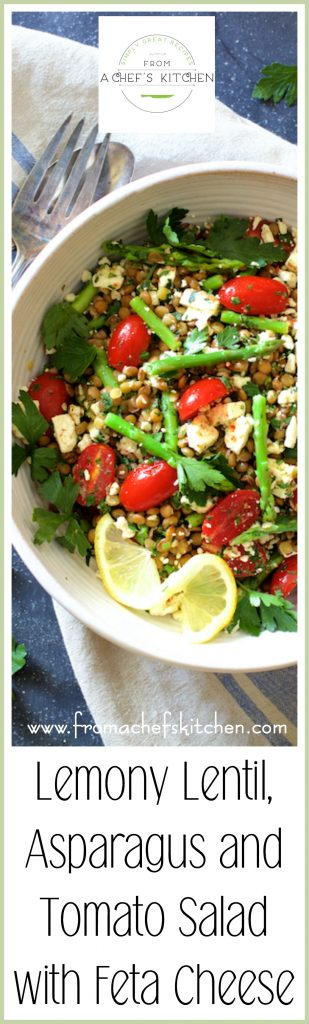 Pinterest Pin for Lemony Lentil, Asparagus and Tomato Salad with Feta Cheese