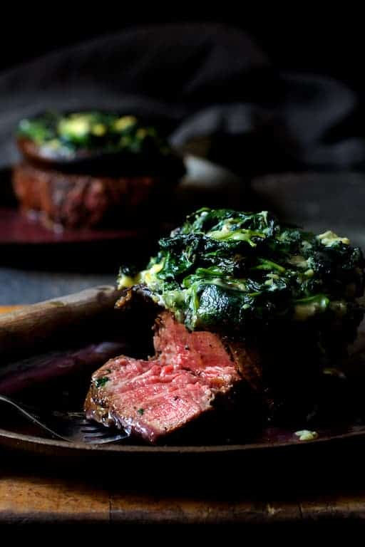 Beef Tenderloin Fillets with Spinach Cambozola Stuffed Mushrooms and Red Wine Sauce