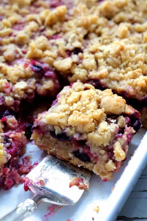 Blueberry Crumble Bars angled shot