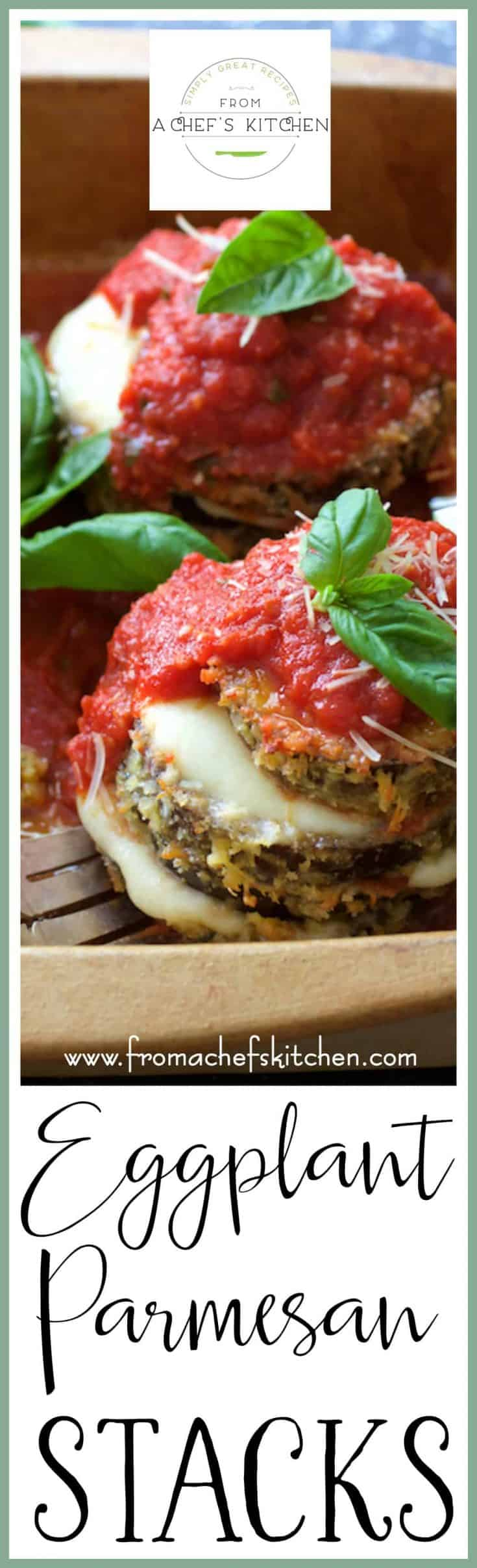Eggplant Parmesan Stacks are a fresher and lighter way to enjoy an Italian classic! #eggplant #eggplantparmesan #healthiereggplantparmesan