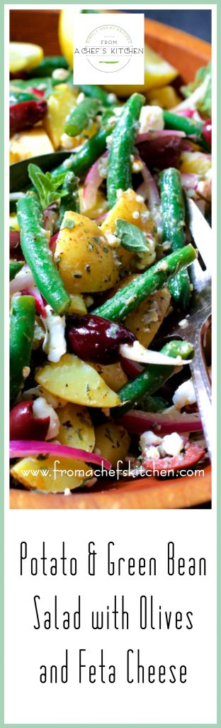 Potato Green Bean Salad with Olives and Feta Cheese is a lovely Greek-inspired twist on traditional potato salad!