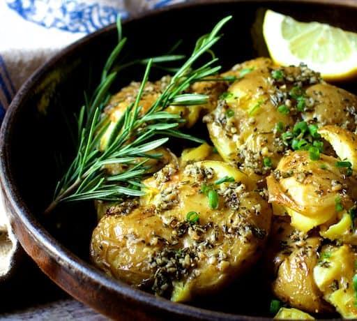 Rosemary Garlic Crushed Potatoes with Lemon Chive Aioli