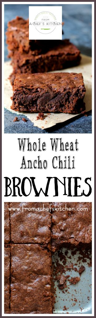 Whole Wheat Ancho Chili Brownies are intensely chocolatey, pack a little heat with a touch of smokiness for a seriously delicious combination! #paidad #sponsored #ad