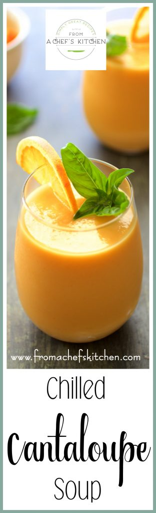 """Chilled Cantaloupe Soup is super easy, creamy and so refreshing! Serve it as a starter for an elegant lunch, light summer supper or as a healthful late afternoon """"pick-me-up!"""""""