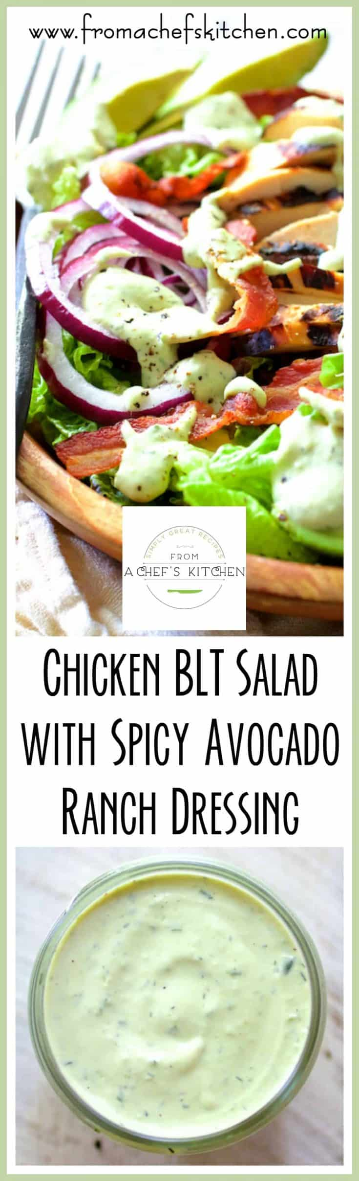 Chicken BLT Salad with Spicy Avocado Ranch Dressing is fresh, cool, crunchy and the perfect way to use up grilled chicken! #chicken #salad #chickensalad #maincoursesalad #dinnersalad #avocado #ranch