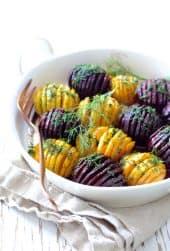 Roasted Hasselback Beets with Dill Dressing