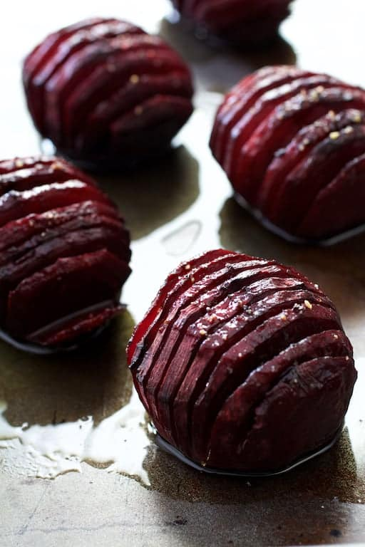 Roasted Hasselback Beets with Dill Dressing - Close-up shot of roasted beets