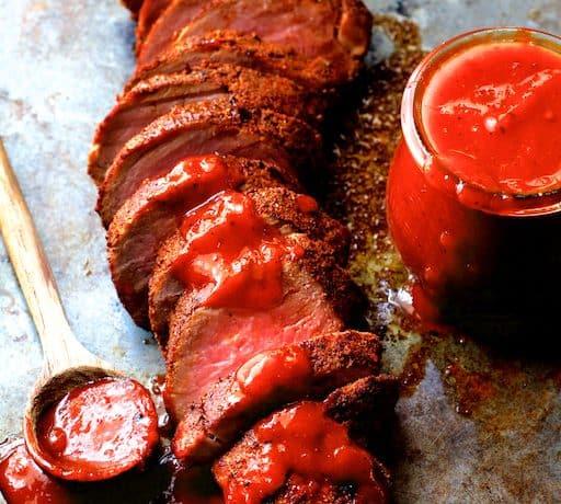 Spice Rubbed Pork Tenderloin with Peach Chipotle Barbecue Sauce