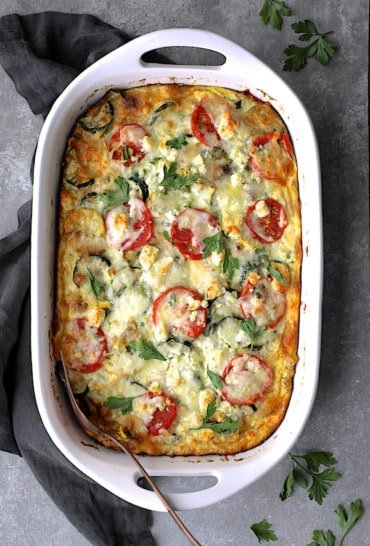 Four Cheese Strata with Zucchini and Tomatoes