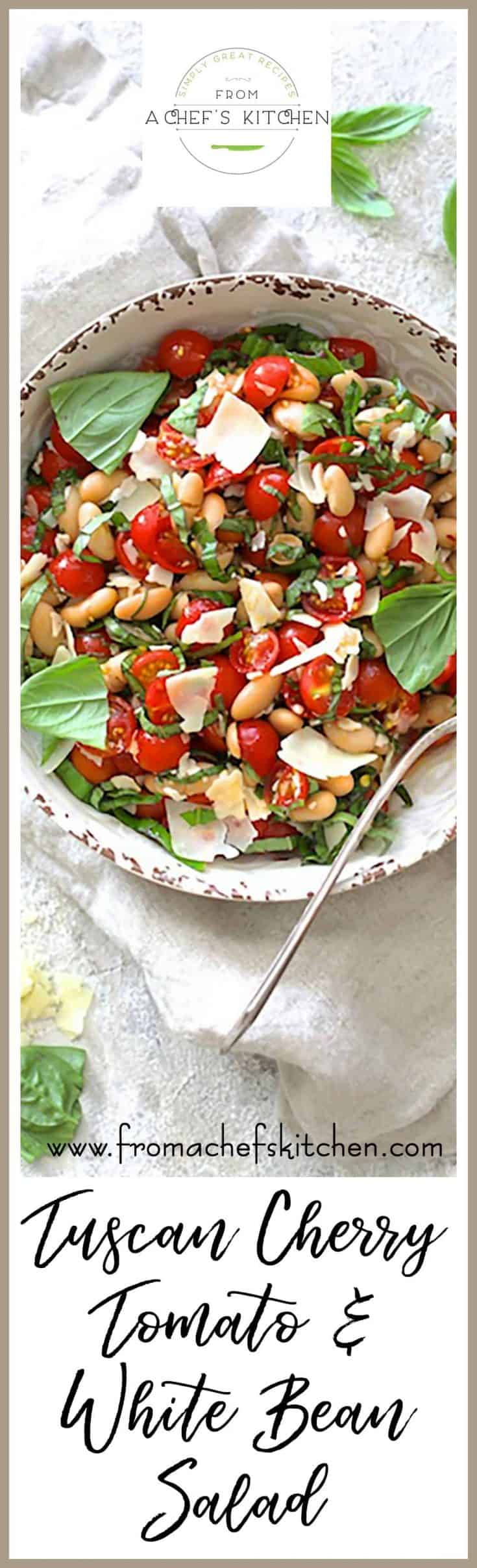 Tuscan Cherry Tomato and White Bean Salad is a beautiful summer salad that's perfect alone or on the side with almost any grilled protein! #tuscanfood #cherrytomato #tomato #whitebean #cannellinibean #bean #salad