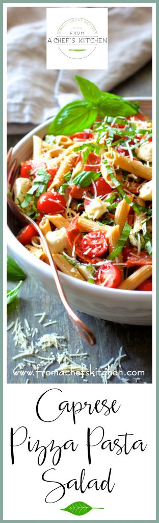 Caprese Pizza Pasta Salad is a cool and easy way to enjoy all the elements of pizza during summer without turning on your oven!