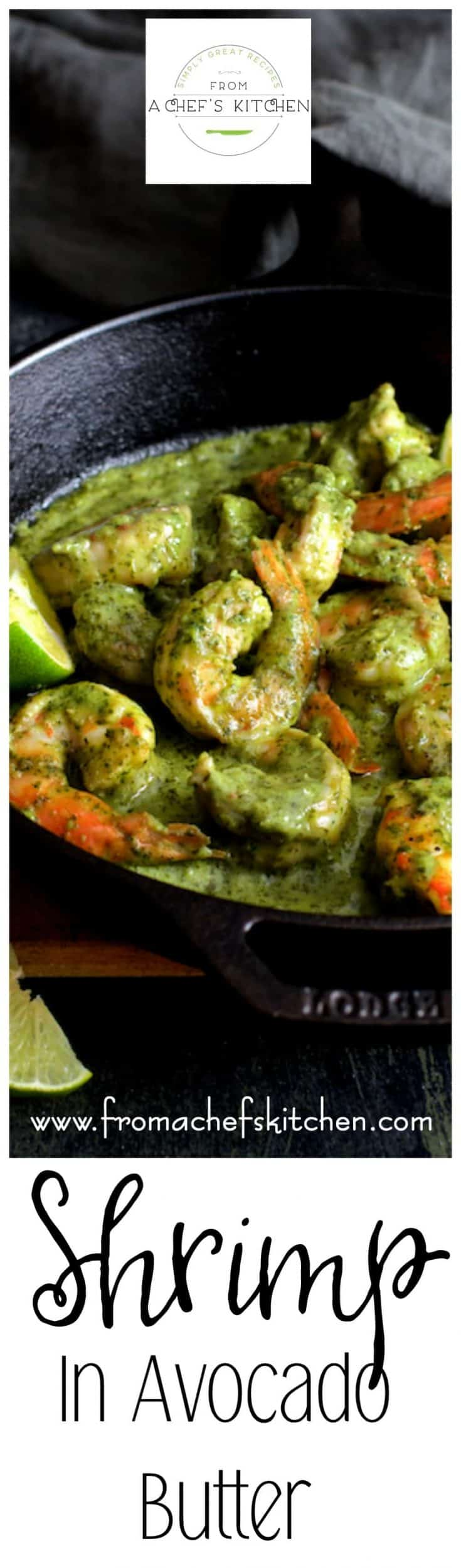 Limey, buttery and easy, Shrimp in Avocado Butter makes a luxurious appetizer, tapas or delicious, indulgent dinner! #shrimp #avocado #butter #tapas #appetizer