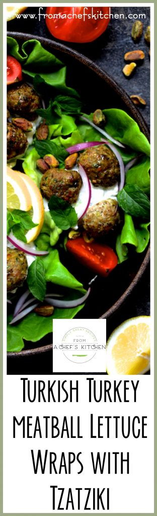 Turkish Turkey Meatball Lettuce Wraps are healthful, light, easy, fun and so flavorful! It's the perfect summer dinner full of fresh ingredients!