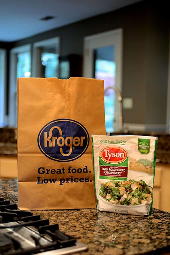 Creamy One Pot Chicken and Orzo Risotto with Bacon - Bag of product with Kroger bag