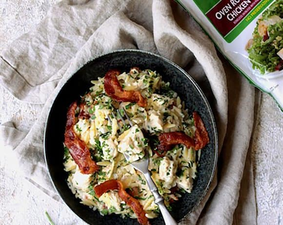 Creamy One Pot Chicken and Orzo Risotto with Bacon