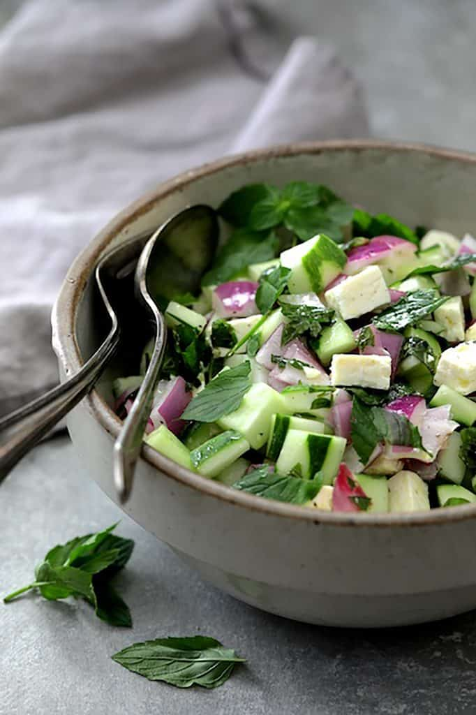 Cucumber Red Onion Salad Feta Cheese