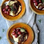 Goat Cheese Polenta with Italian Sausage and Roasted Grapes