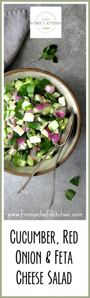Cucumber Red Onion Feta Cheese Salad is easy, delicious and comes together quickly!