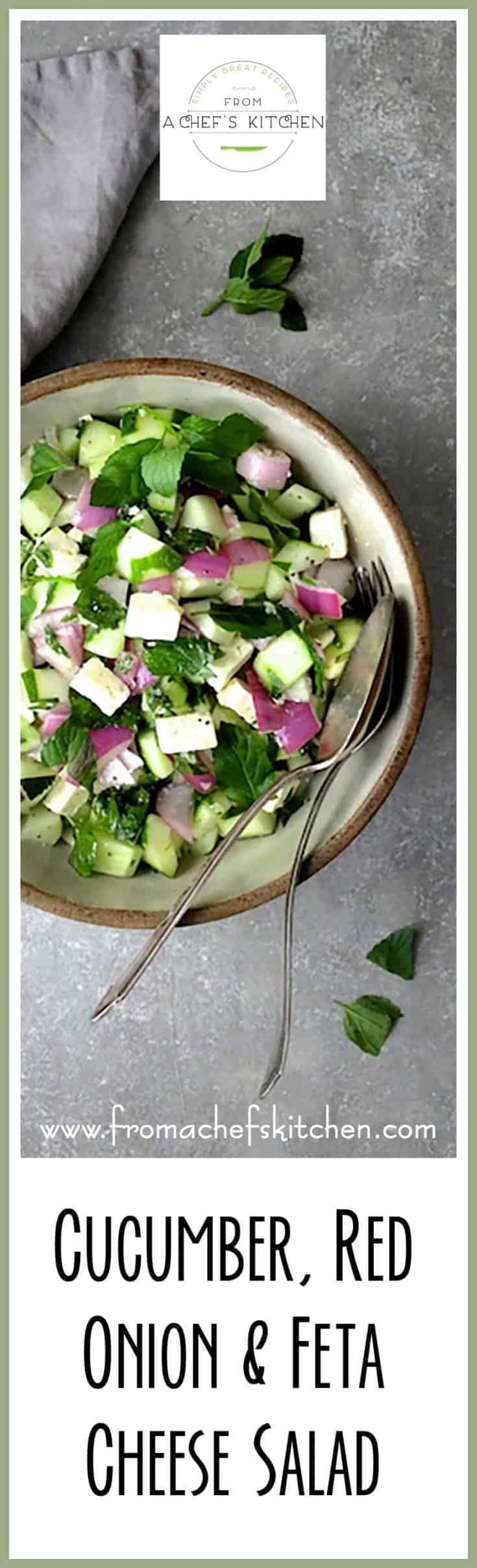 Cucumber Red Onion Feta Cheese Salad is crunchy, easy, delicious and comes together quickly!  Perfect with anything you're serving this summer!  #cucumber #redonion #fetacheese #salad #vegetable