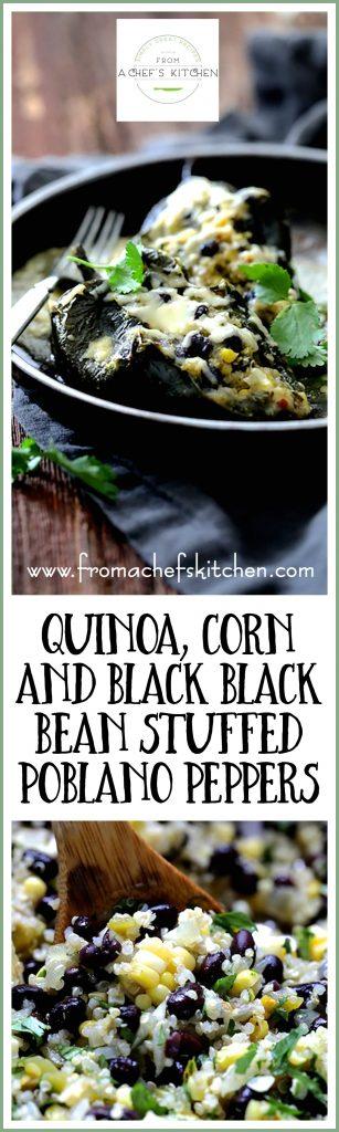 Quinoa, Corn and Black Bean Stuffed Poblano Peppers