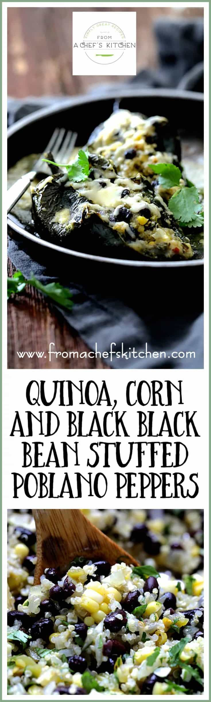 Quinoa Corn and Black Bean Stuffed Poblano Peppers are the best kind of vegetarian comfort food!  Protein-rich quinoa, corn, black beans, stuffed into smoky roasted peppers with a green chile sauce and plenty of CHEESE!  #quinoa #corn #blackbean #stuffedpoblanopeppers #vegetarian