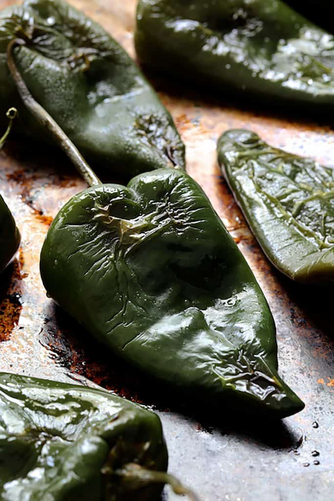 Photo of roasted Poblano peppers.