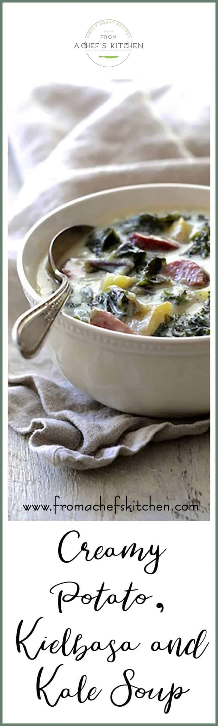 Creamy Potato Kielbasa and Kale Soup is complete comfort in a bowl that's perfect when the weather gets chilly! #potato #potatosoup #kielbasa #kale #soup