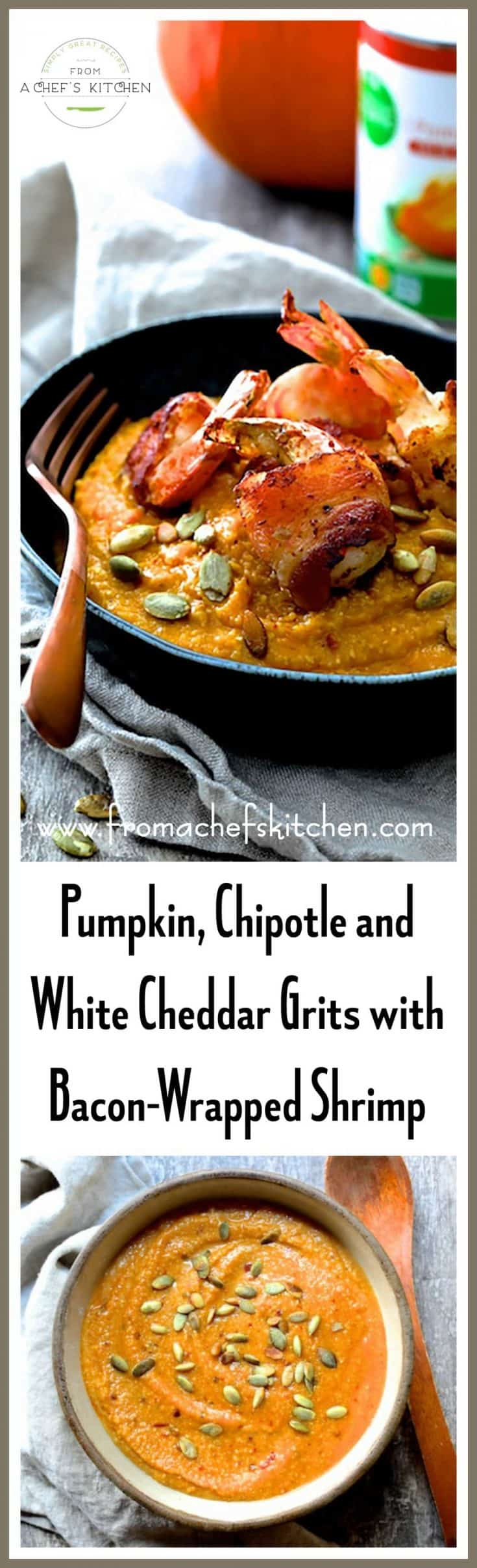 Pumpkin, Chipotle and White Cheddar Grits with Bacon-Wrapped Shrimp is the perfect autumn treat for an easy dinner or for entertaining guests!  #KrogerFoodie #sponsored #ad