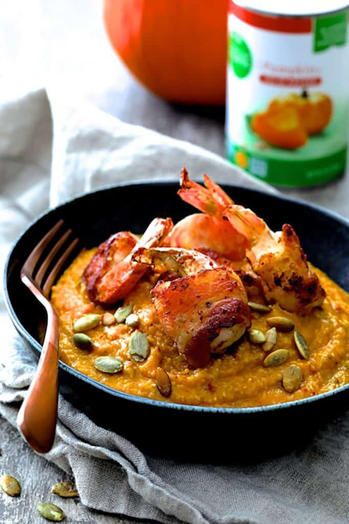Pumpkin Chipotle and White Cheddar Grits with Bacon Wrapped Shrimp