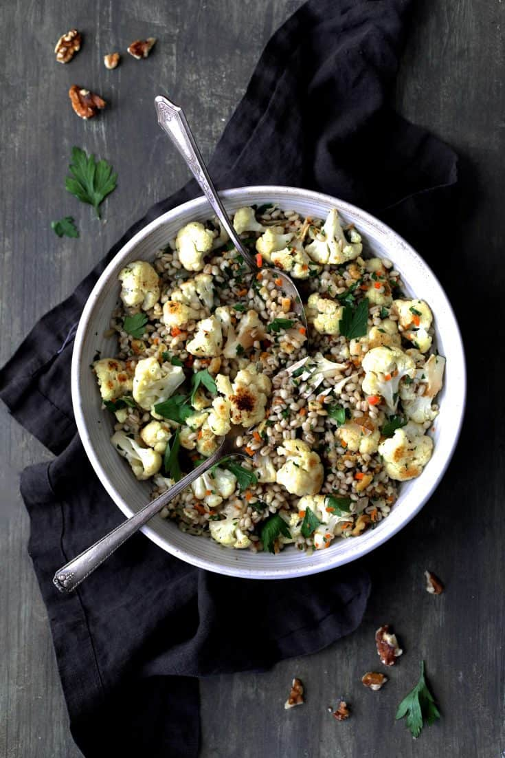 Roasted Cauliflower and Barley Pilaf