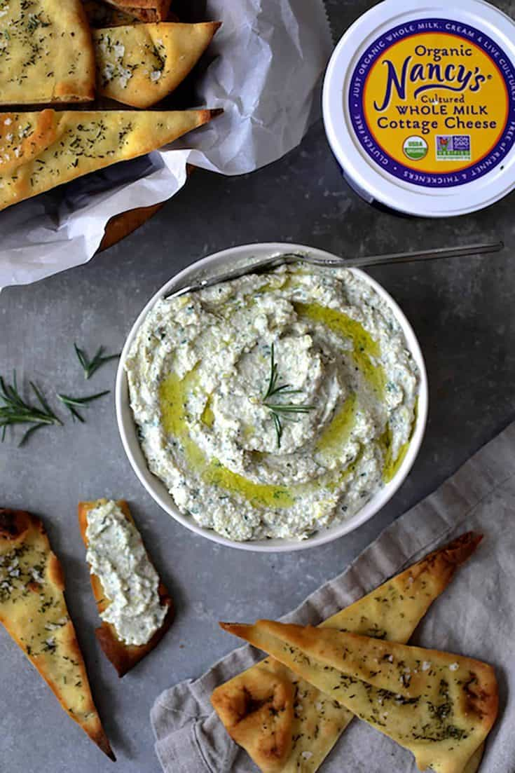 White Bean Artichoke Spread with Rosemary Sea Salt Flatbread Chips