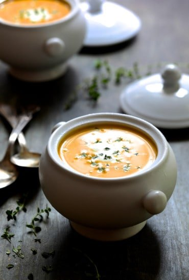 Butternut Squash Soup with Thyme and Taleggio is elegant, rich, creamy and simply lovely!