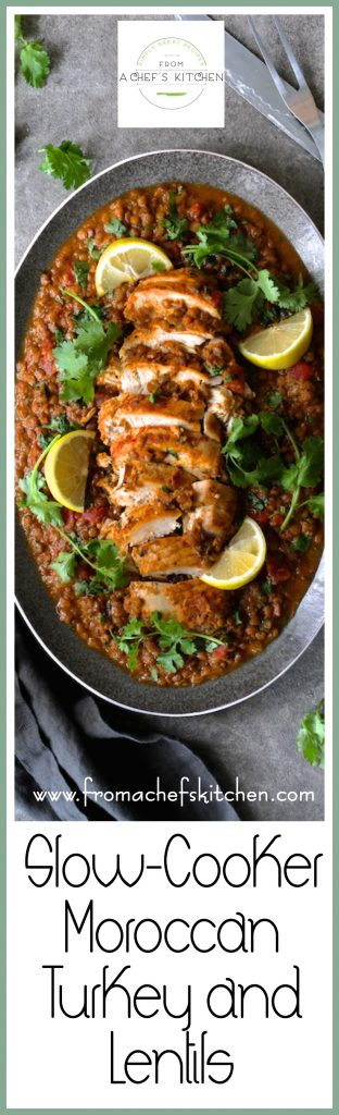 Slow Cooker Moroccan Turkey and Lentils is a delicious way to puts an exotic twist on turkey!  Perfect for the holidays or an easy dinner any night of the week and any time of year!