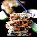 Sheet Pan Sweet Potat, Poblano and Black Bean Quesadillas with Chipotle Sour Cream Hero Shot