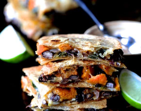 Sheet Pan Quesadillas with Sweet Potatoes Poblanos and Black Beans with Chipotle Sour Cream