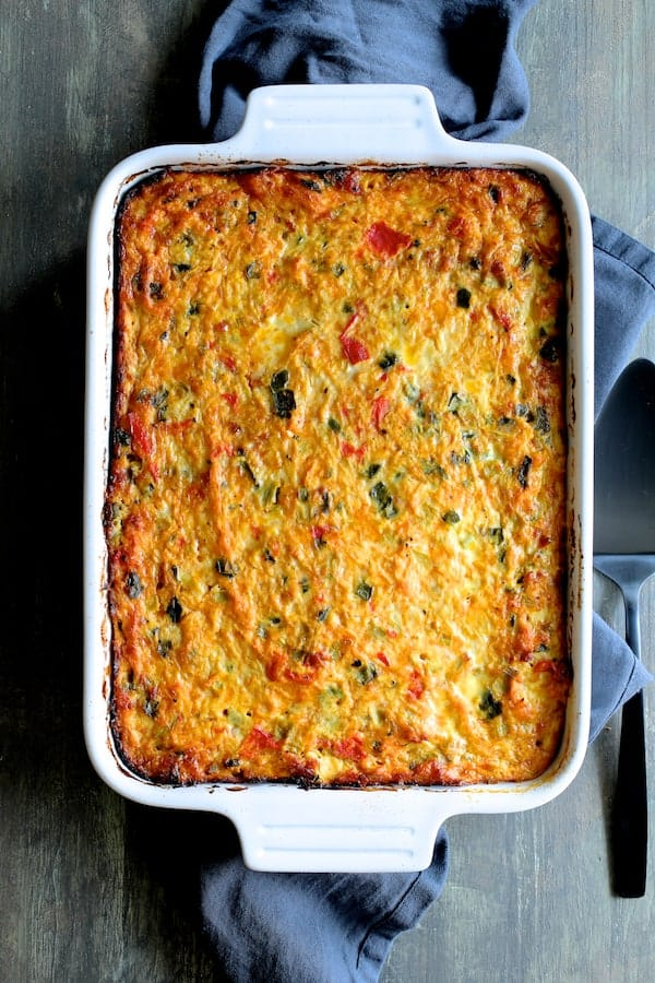 Spaghetti Squash Poblano Chorizo Breakfast Casserole similar to hero shot but vertical