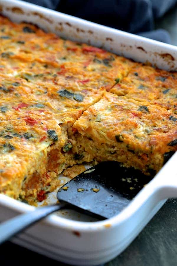 Spaghetti Squash Poblano Chorizo Breakfast Casserole with pieces removed