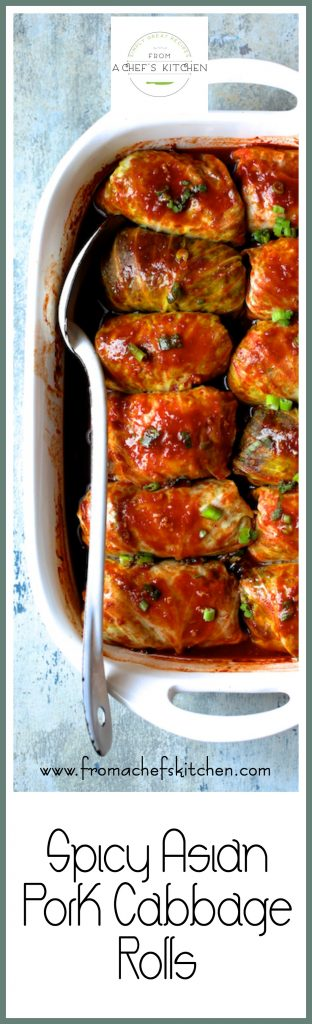 Spicy Asian Pork Cabbage Rolls are a spicy, Asian twist on traditional cabbage rolls!