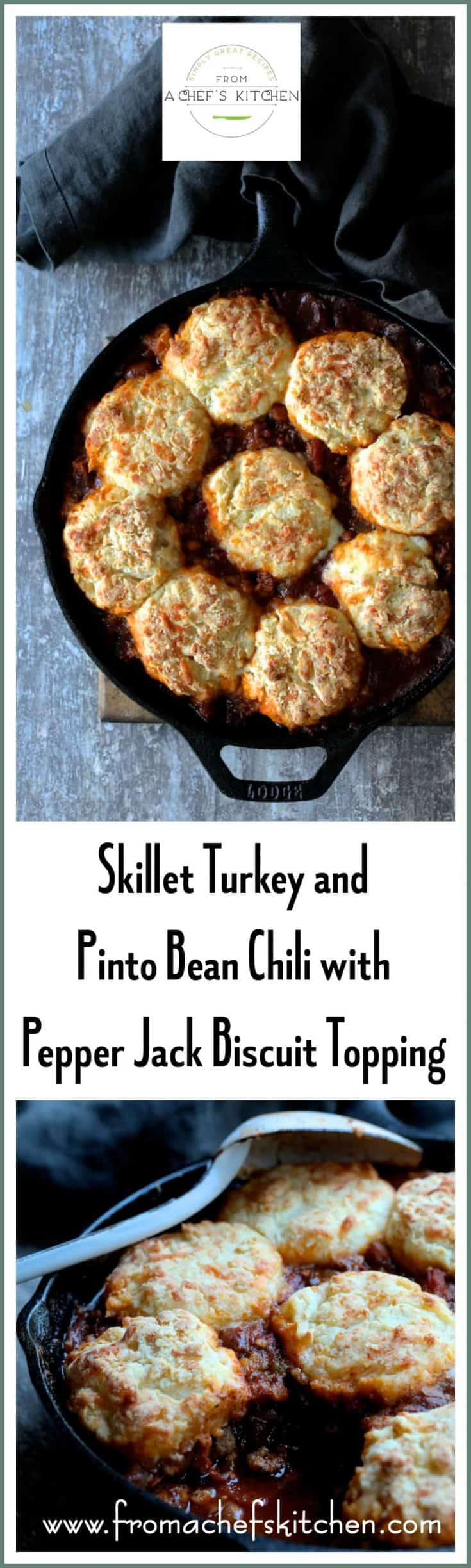 Skillet Turkey Pinto Bean Chili with Pepper Jack Biscuit Topping is a one-dish meal your family will be excited to dig into!  #skillet #turkey #turkeychili #pintobean #bean #pepperjack #cheese #biscuit #poultry