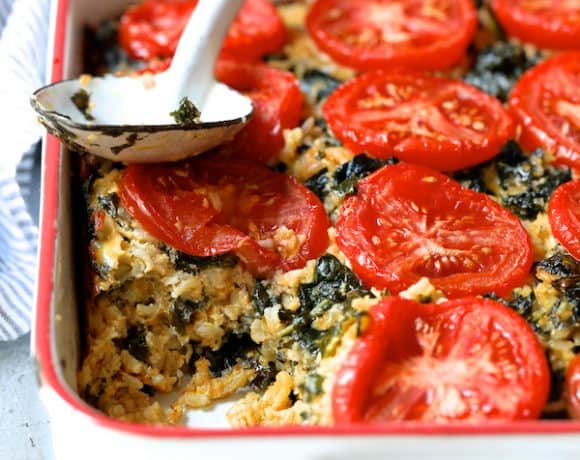 Brown Rice Cheddar Kale Casserole
