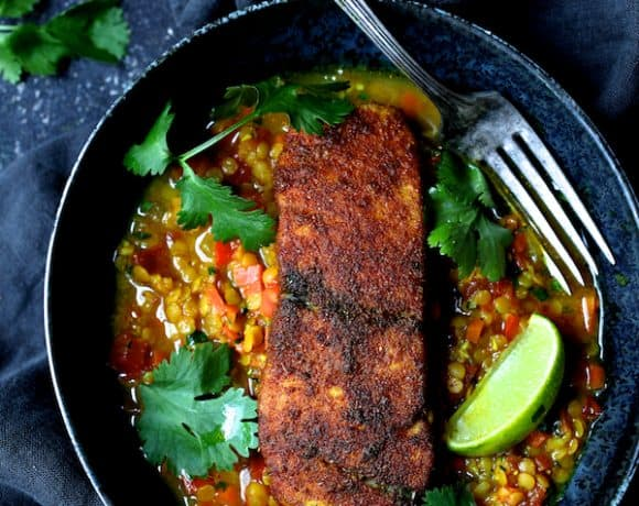 Indian Spiced Sea Bass with Braised Red Lentils