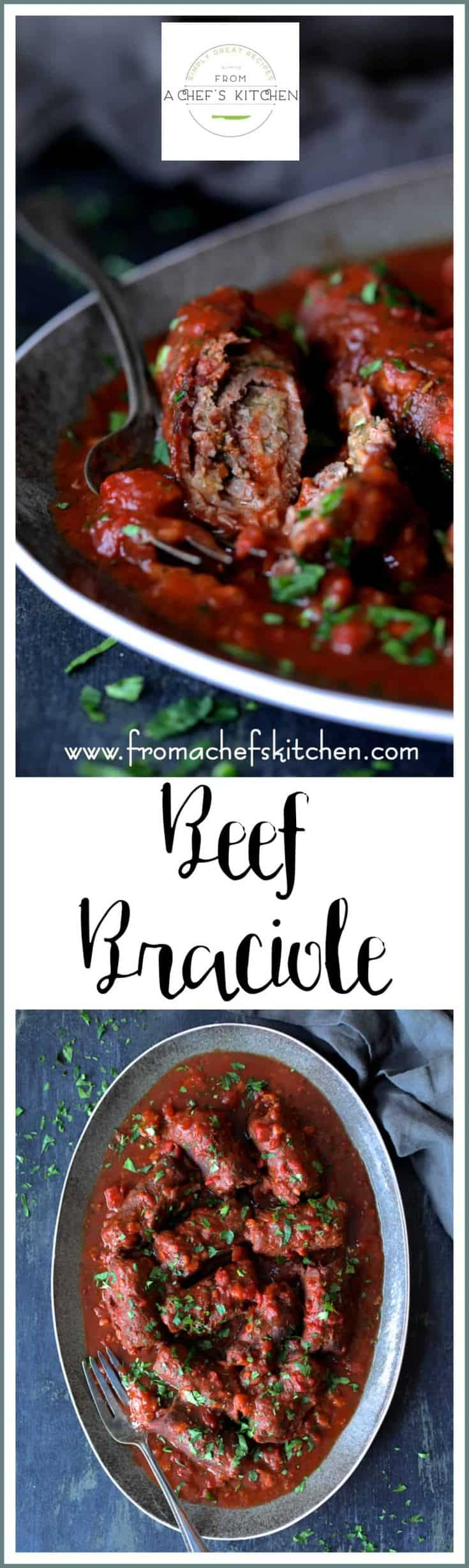 Beef Braciole is a hearty, slowly-simmered wine-infused homestyle southern Italian dish that's perfect for a wintry night.  #beef #beefbraciole #braciole #Italian