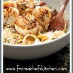 #Ad #BertolliOrganic - Seared Sea Scallops with Spicy Bacon Sun-Dried Tomato Alfredo Sauce is easy and perfect for an Italian-inspired romantic dinner for two!