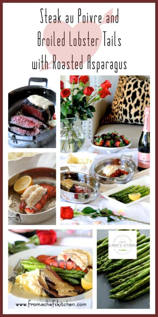 MSG 4 21+ #MyTFMValentine #TheFreshMarket #CollectiveBias #Ad - Steak au Poivre and Broiled Lobster Tail with Roasted Asparagus, part of The Fresh Market's Valentine's Day Meal is the perfect way celebrate Valentine's Day! Here, their Premium Choice Chateaubriand Cut Filet Mignon and North Atlantic Cold Water Lobster Tails combine for an elegant, romantic meal you'll both love!