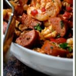 """Low Carb Jambalaya with Chicken, Shrimp and Sausage is a healthful and nutritious twist on the New Orleans classic that's made with cauliflower """"rice."""""""