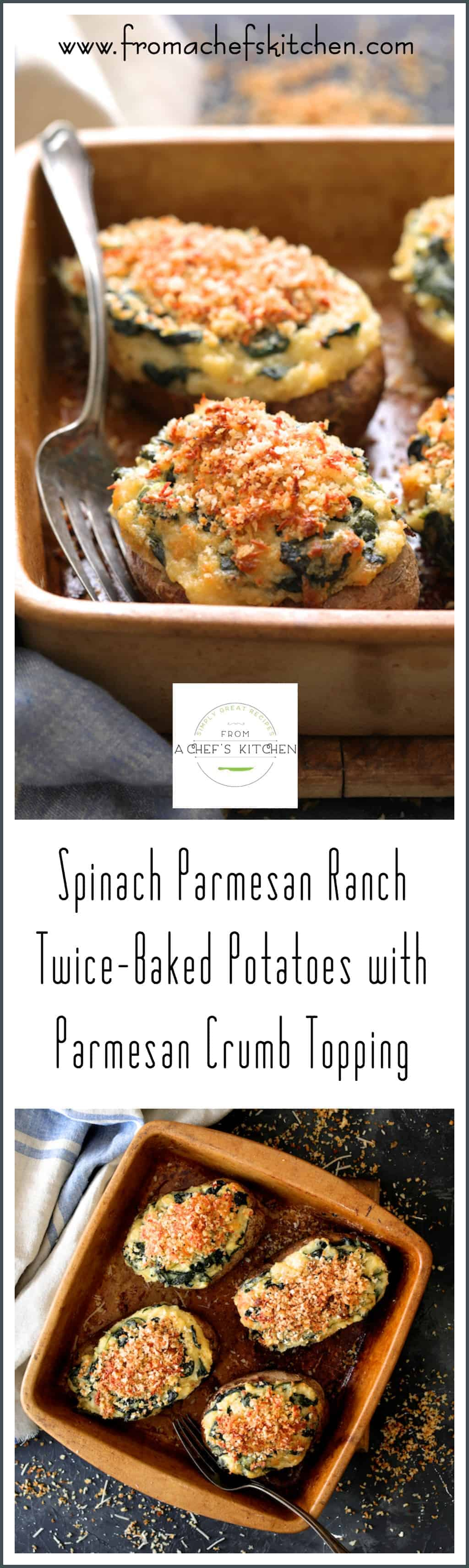Spinach Parmesan Ranch Twice Baked Potatoes with Parmesan Crumb Topping are pillows of potato perfection!