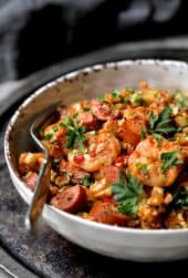Low Carb Jambalaya with Chicken Shrimp and Sausage close-up shot of a serving in a bowl