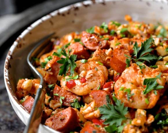 Low Carb Jambalaya with Chicken Shrimp and Sausage