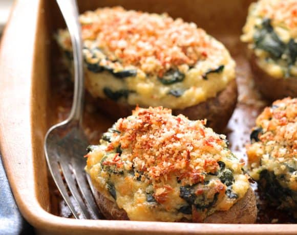 Spinach Parmesan Ranch Twice Baked Potatoes with Parmesan Crumb Topping